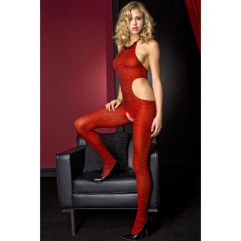 Music Legs Catsuit Zebradruck - Rot/Schwarz