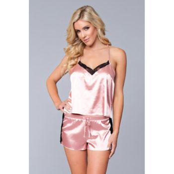 Jasmina Satin-Damenhemdchen und Shorts-Set - Pink