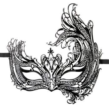 EasyToys – Durchbrochene venezianische Maske in Schwarz
