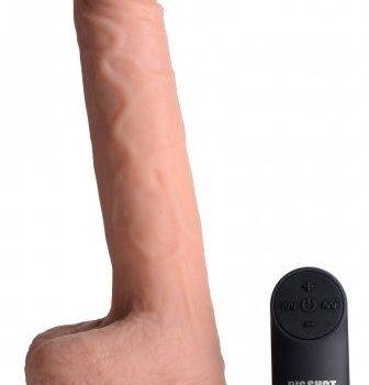 Vibrierender und stoßender XL-Dildo mit Saugnapf und Hoden - Beige