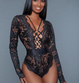 Ramona Bodysuit mit langen Ärmeln und Spitze - Schwarz